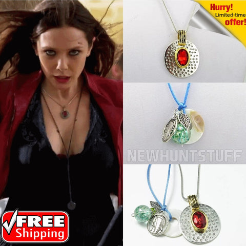 Image of 2pcs Captain America Civil War Avengers Scarlet Witch Necklace Red stone pendant - Anime Hero Shop