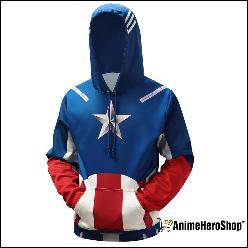 Captain America Zip Up Hoodie - Classic Jacket