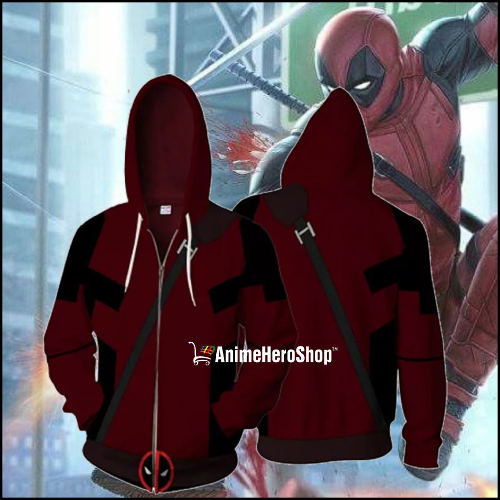 Deadpool 3D print Zip Up Hoodie Streetwear