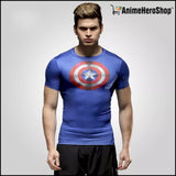 Captain America Spiderman Superman and Batman lycra tights T-shirts - Anime Hero Shop