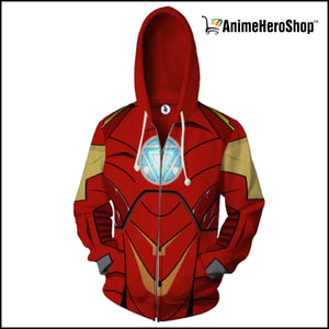 Iron Man Zip Up Hoodie  ( Avengers Infinity War ) - Anime Hero Shop