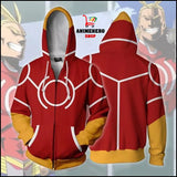 All Might Red Cosplay Zip Up Hoodie