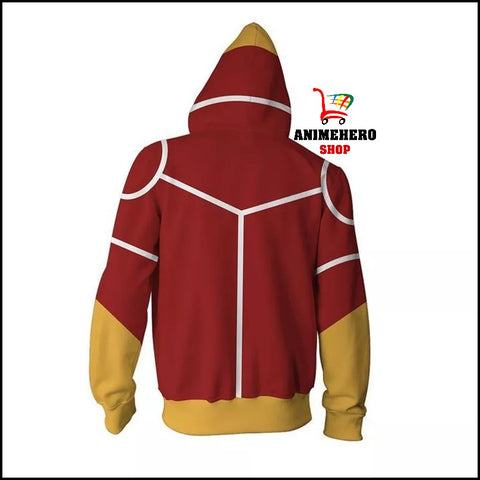 Image of All Might Red Cosplay Zip Up Hoodie - Anime Hero Shop