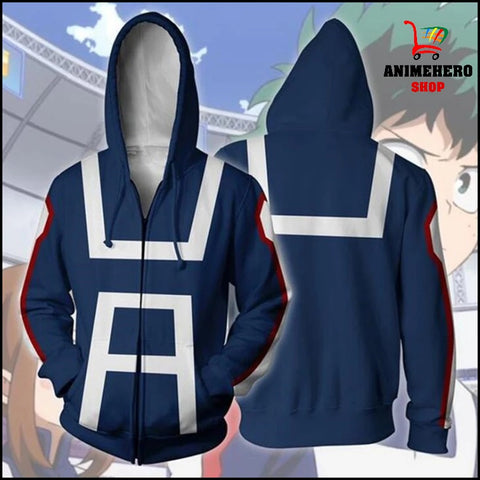 Image of Midoriya My Hero Academia College Zip Up Hoodie - Anime Hero Shop
