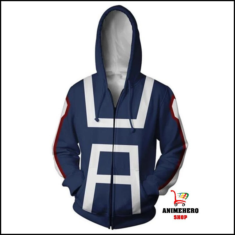 Midoriya My Hero Academia College Zip Up Hoodie