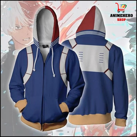 Image of My Hero Academia Shoto Todoroki Zip Up Hoodie - Anime Hero Shop
