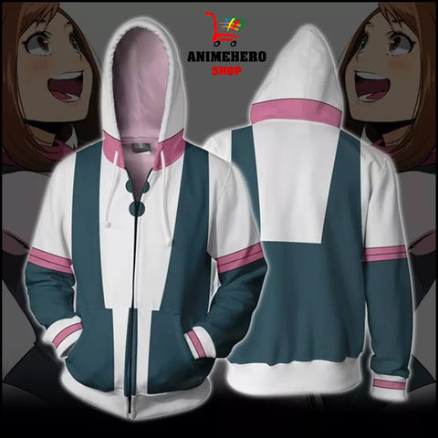 Image of Ochaco Uraraka Cosplay Zip Up Hoodie