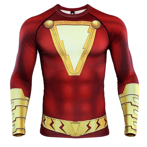 Shazam New 2019 DC Movie  Long Sleeve Compression Shirts