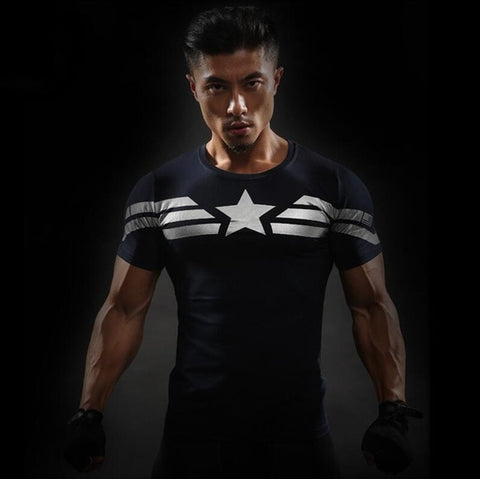 Image of Men T-Shirt Male Tee Captain America Superman t-shirt Men Fitness Compression Shirt Punisher - Anime Hero Shop