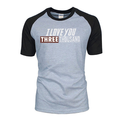 Image of I Love You 3000 Avengers Endgame Tony Stark Iron Man Cotton Raglan T-Shirts - Anime Hero Shop