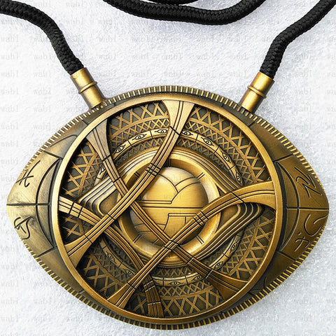 Image of Doctor Strange Necklace Eye of Agamotto Amulet Antique Bronze Pendant Long Necklace