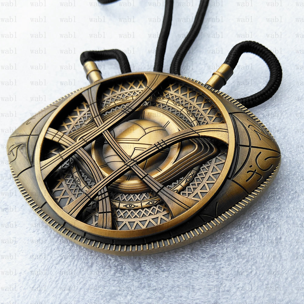 Doctor Strange Necklace Eye of Agamotto Amulet Antique Bronze Pendant Long Necklace