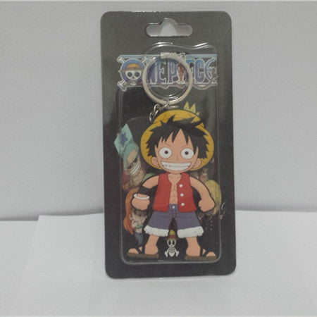 Luffy keychain Action Figure Toys double-sided Silicone PVC keychain