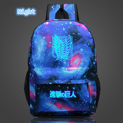 Image of Attack on Titan Backpack Printing School Bag for Teenagers Cartoon Travel Bag Nylon