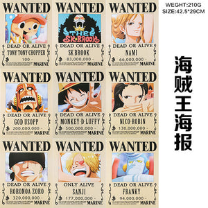 9 PCS/LOT ONE PIECE Wanted Posters Newest Anime Poster size 42x29 cm