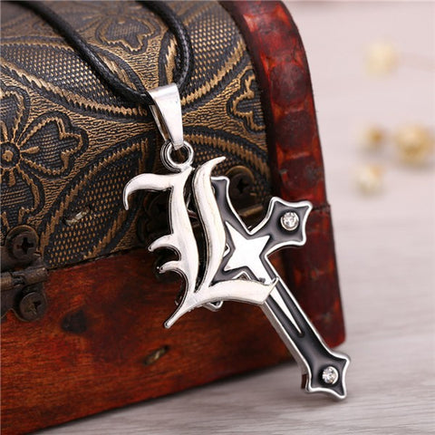 Image of 2018 Death Note Cross Logo Double Pendant Necklace
