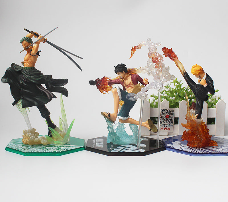 Monkey D Luffy Zoro Sanji Battle Ver. pvc Figure Toys
