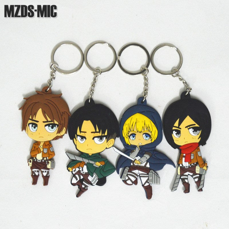 Attack on Titan PVC Keychain Action Figure Pendant Key Ring