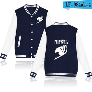 Fairy Tail Baseball Jacket Capless Mens Hoodies And Sweatshirts