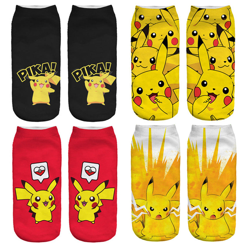 2018 New Arrival Pokemon Pikachu Socks 3D Printed Women's Low Cut Ankle Socks