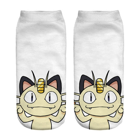 Image of 2018 New Arrival Pokemon Pikachu Socks 3D Printed Women's Low Cut Ankle Socks