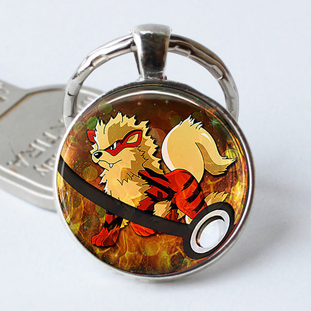Pokeball Key Chains Glass Dome Pendant Keychain Key Rings