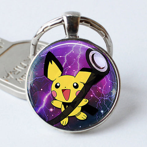 Image of Pokeball Key Chains Glass Dome Pendant Keychain Key Rings