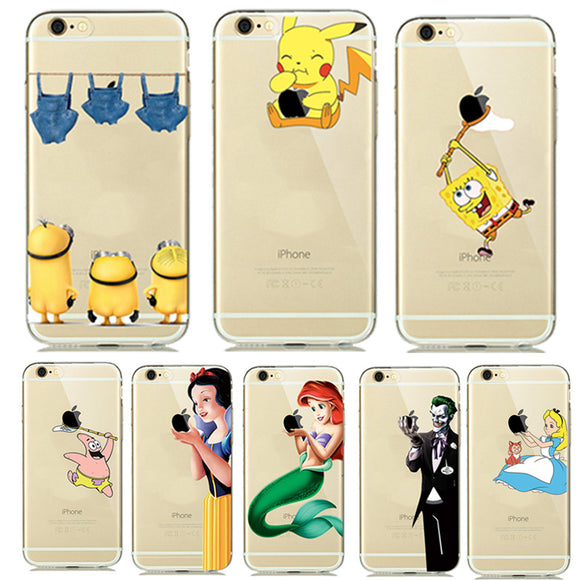 Pokemon Cases for iphone 7 8 Plus 6S 5S SE Soft Transparent Cover Mermaid Minion Case Accessories