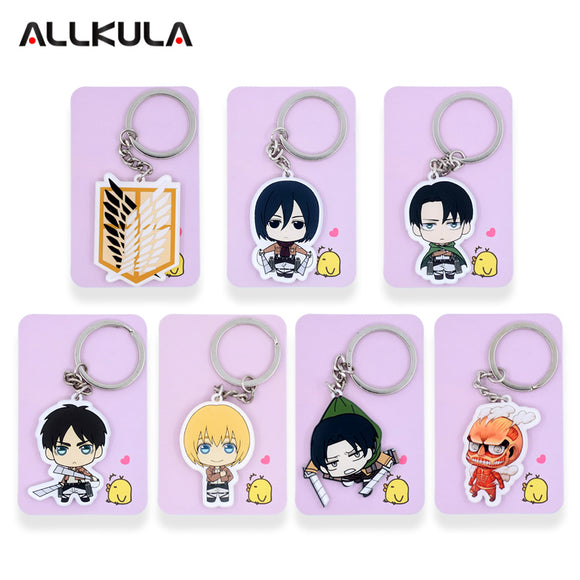 Attack on Titan acrylic Keychain Action Figure Pendant Accessories  Key Ring