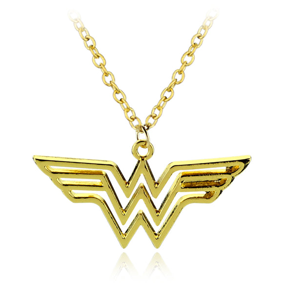 Wonder Woman Logo Pendant - Necklace with Leather Cord Gold/silver