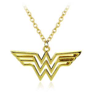 Wonder Woman Logo Pendant - Necklace with Leather Cord Gold/silver - Anime Hero Shop