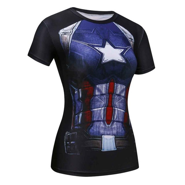 Women t-shirt Superheroes - T-shirt girl Tight tees fitness