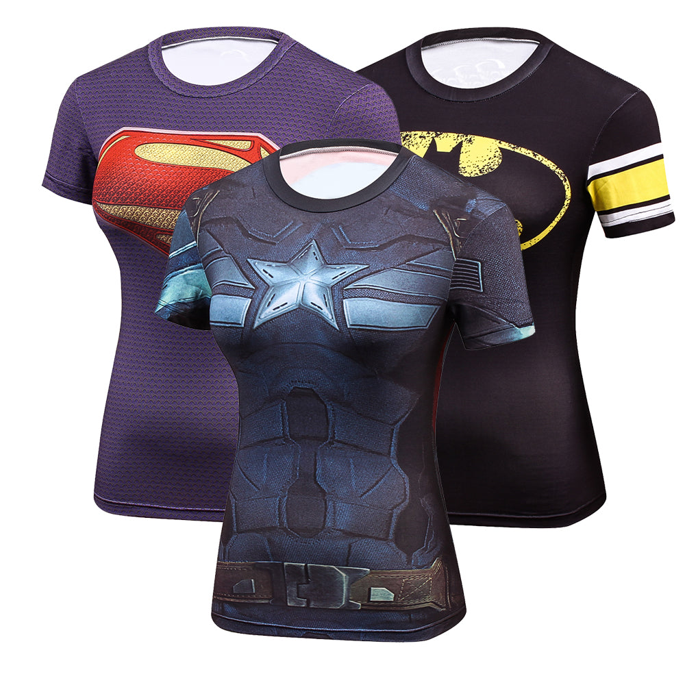 Hot Women Compression fitness shirts Superhero Tops