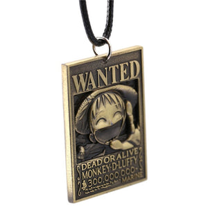 ONE PIECE Wanted Poster Necklace Luffy Pendant Necklace Men Women - Anime Hero Shop