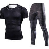 Black Panther & Iron Spider Sets Compression Crossfit Tops ( Short Sleeve )