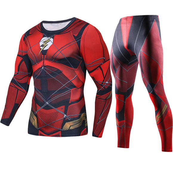 Justice League The Flash Set Compression Shirts ( Long Sleeve )