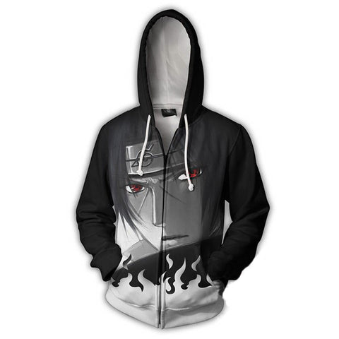 Image of Uchiha Itachi Thin Zip Up Hoodie - Anime Hero Shop