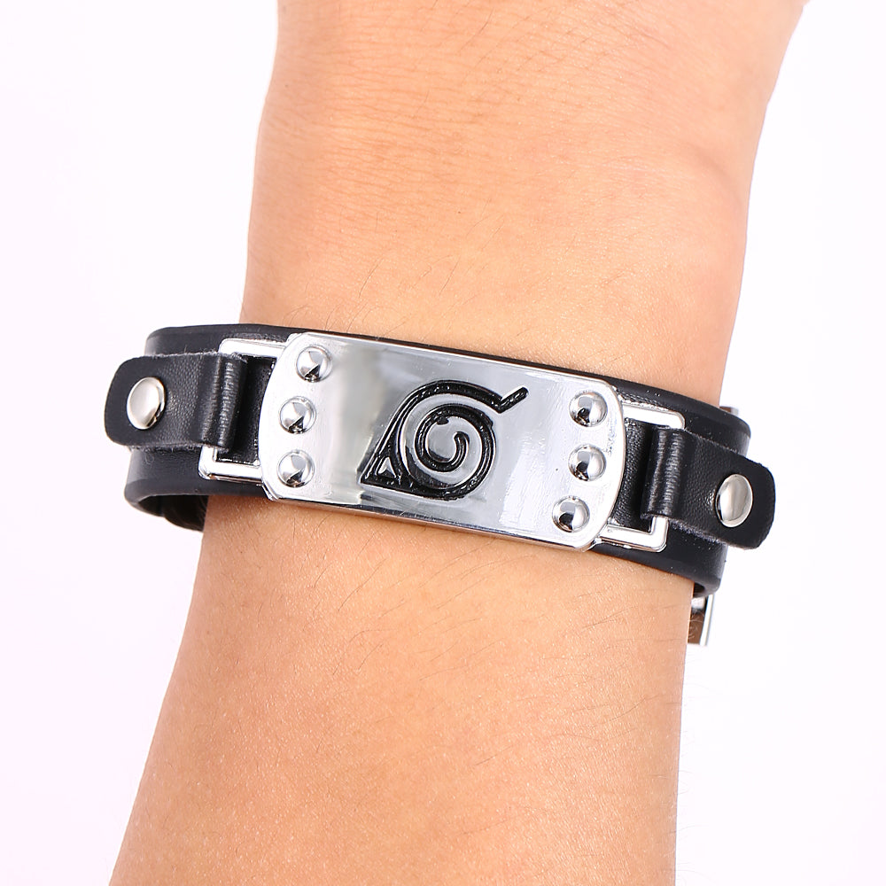 2018 Naruto Silver Color Bracelet Leather