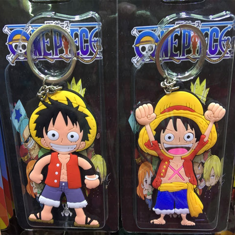 Image of Luffy keychain Action Figure Toys double-sided Silicone PVC keychain