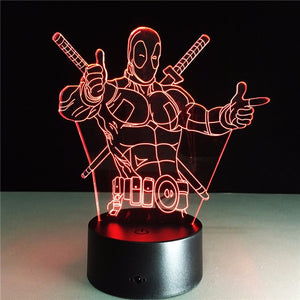 Deadpool 3D LED Table Lamp 7 Colors