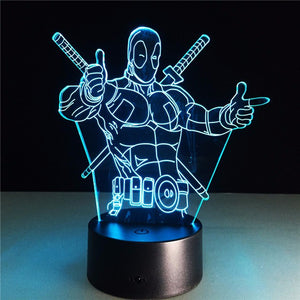 Deadpool 3D LED Table Lamp 7 Colors - Anime Hero Shop