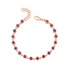 "14K Rose Gold Amethyst Bracelet 7"" With Extension"