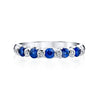 14K White Gold Engagement Band With Diamonds And Sapphires