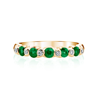 14K Yellow Gold Engagement Band With Diamonds And Emeralds