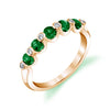 14K Yellow Gold Diamond And Emerald Wedding/Anniversary Band