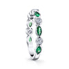 14K White Gold Diamond And Tsavorite Garnet Stackable Band
