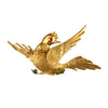 14K Yellow Gold Bird Brooch With Emeralds and Rubies