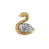 14K Yellow and White Gold Swan Brooch/Pin With Diamonds
