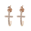 14K Rose Gold Cross Diamond Hoop Earrings