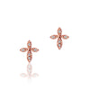 14K Rose gold cross earrings with diamonds